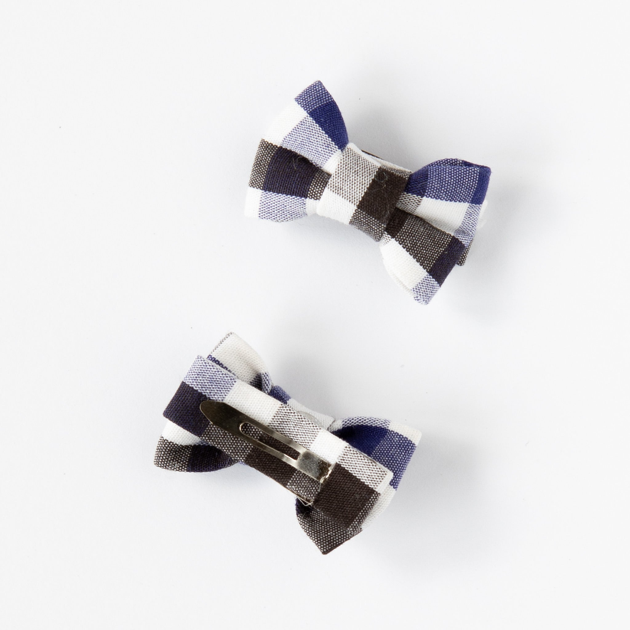Katie Twin Bow Snaps Country Check