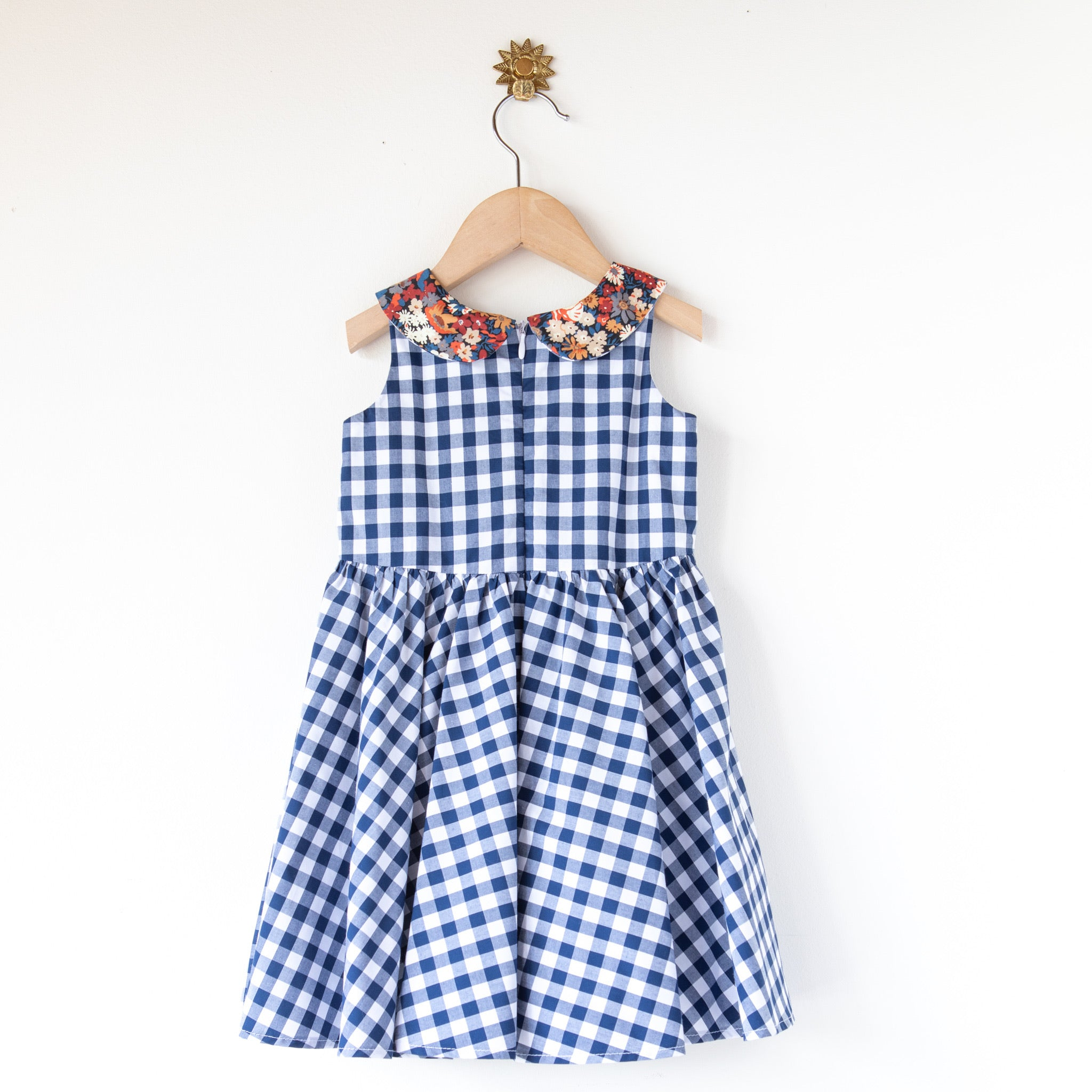 Maria Dress Navy Gingham with Russet Collar