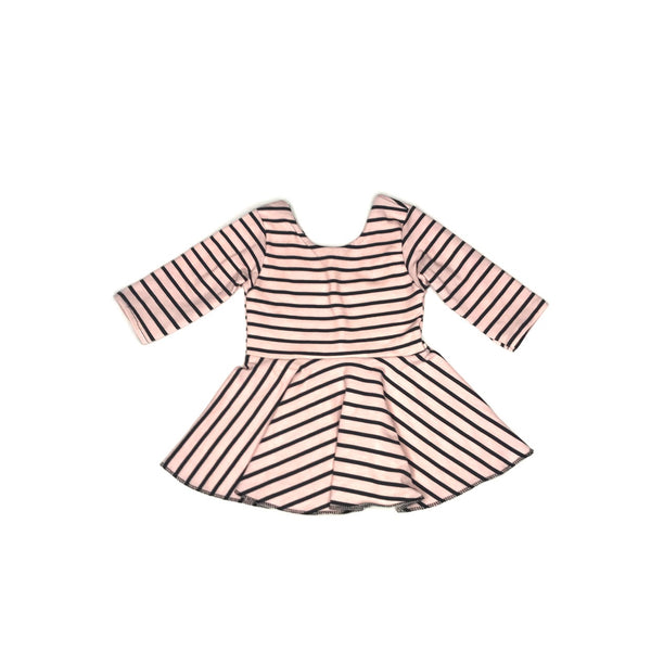 Blush & Charcoal stripe peplum top