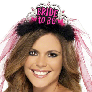 Bride To Be Tiara With Veil - Miss Behaviour Bachelorette Parties