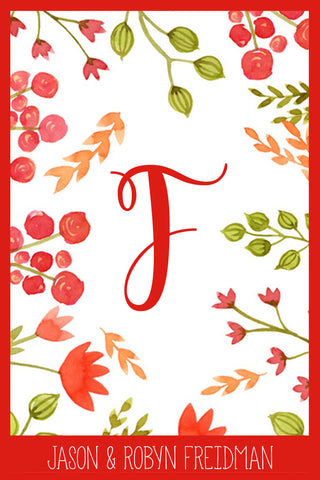 Flowers & Berries Monogram Card