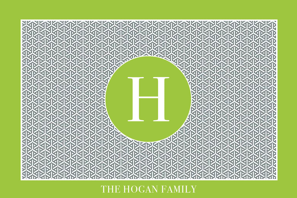 Green Border Monogram Card