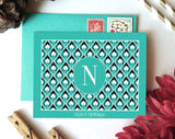 Turquoise Border Monogram Card