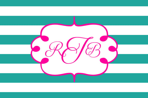 Dark Turquoise and Pink Monogram Card