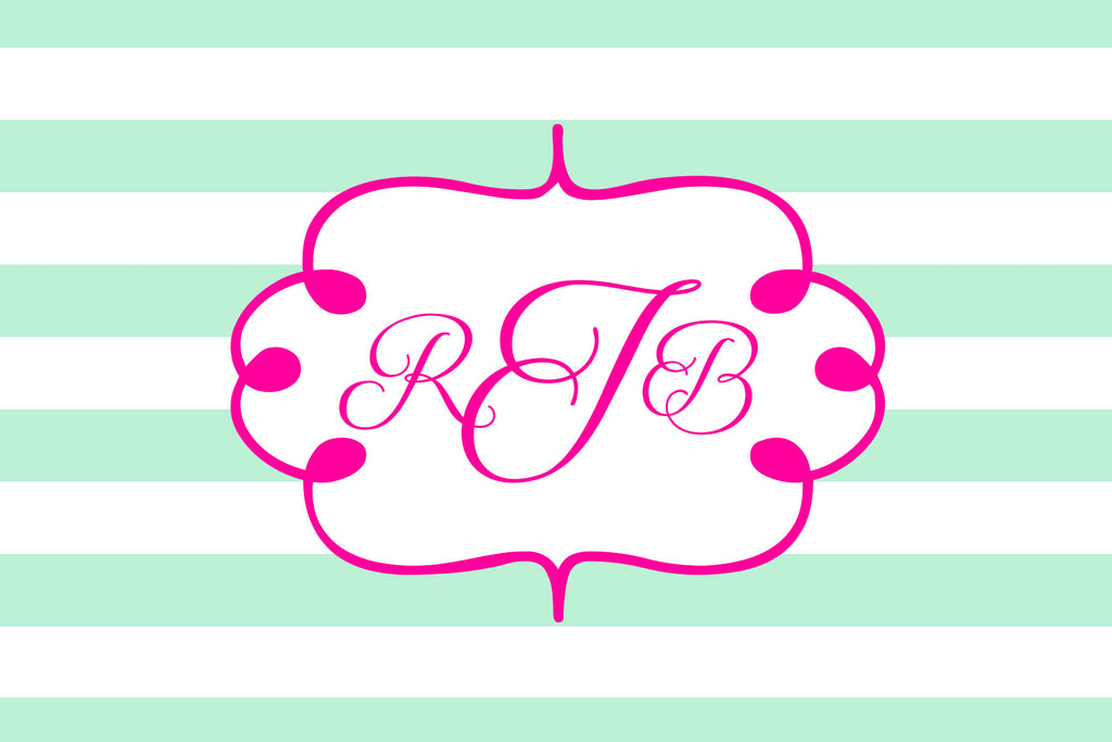 Light Green and Pink Monogram Card