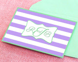 Purple and Green Striped Monogram Card