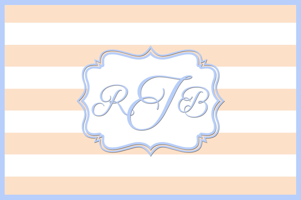 Peach and Blue Monogram Card