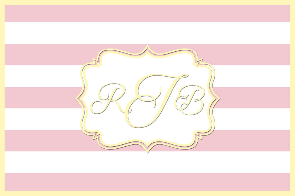 Pink and Yellow Monogram Card