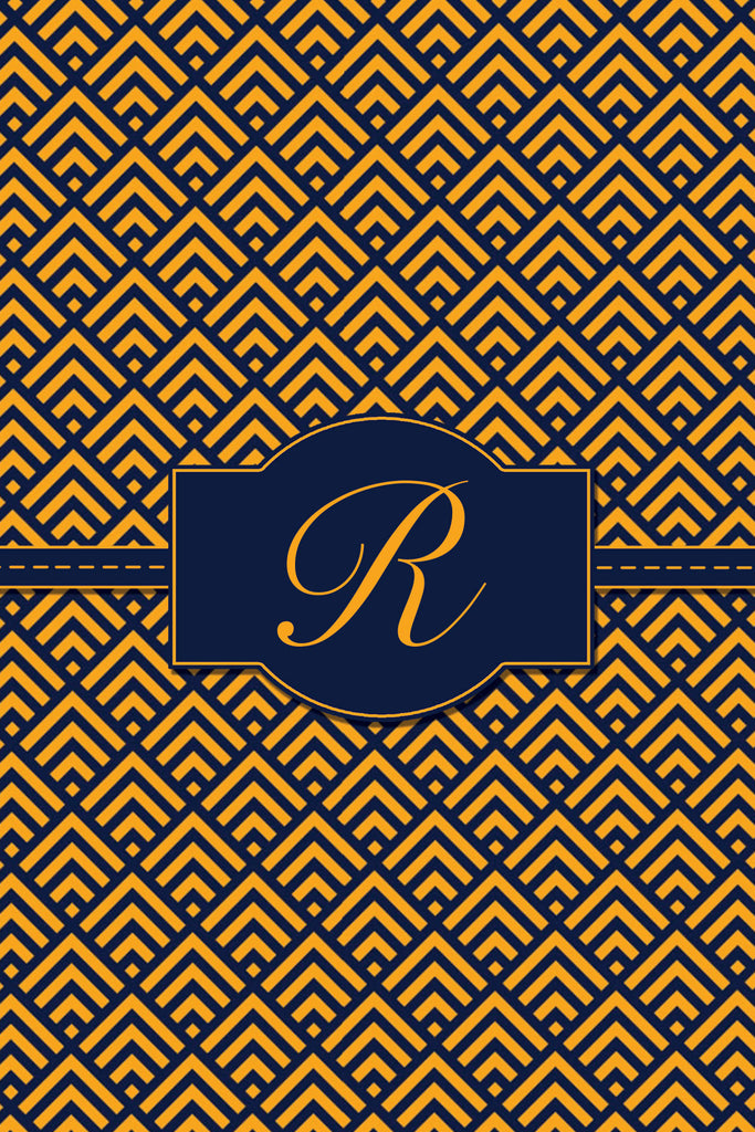 Orange and Navy Blue Monogram Card