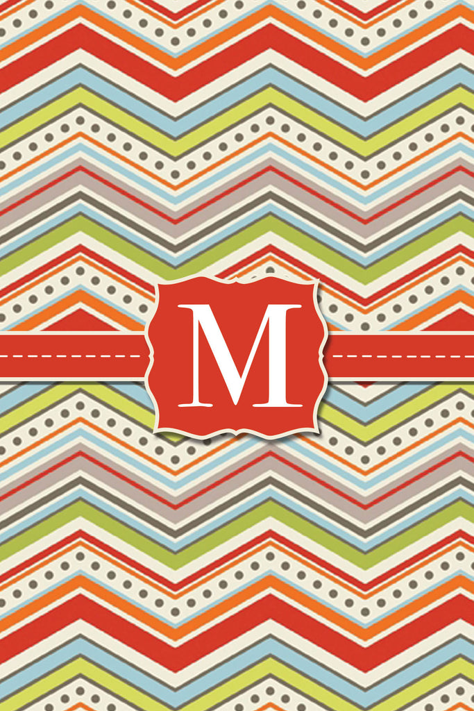 Red Zig Zag Monogram Card