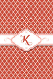 Red Patterned Monogram Card