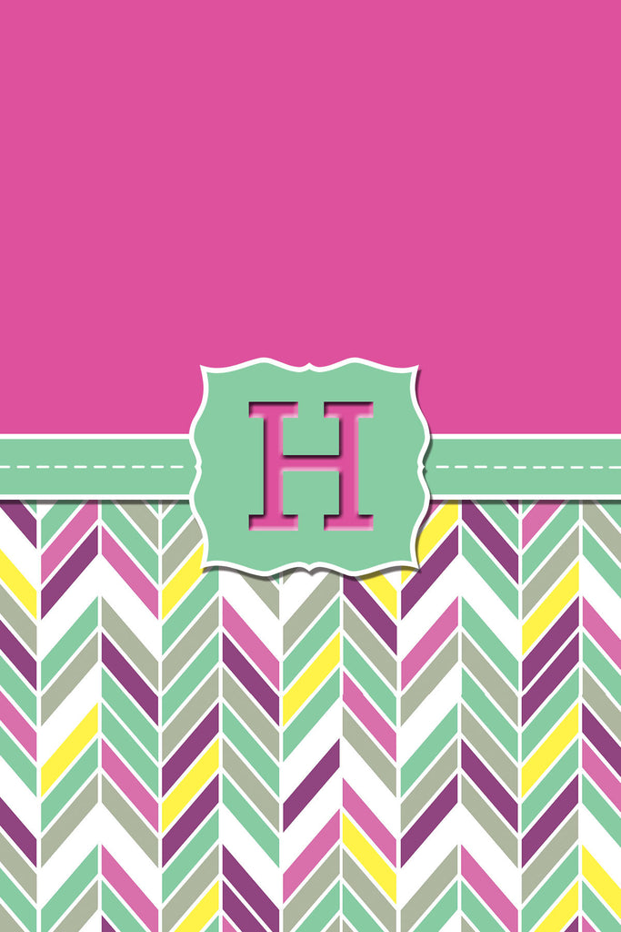 Light Green Zig Zag Monogram Card