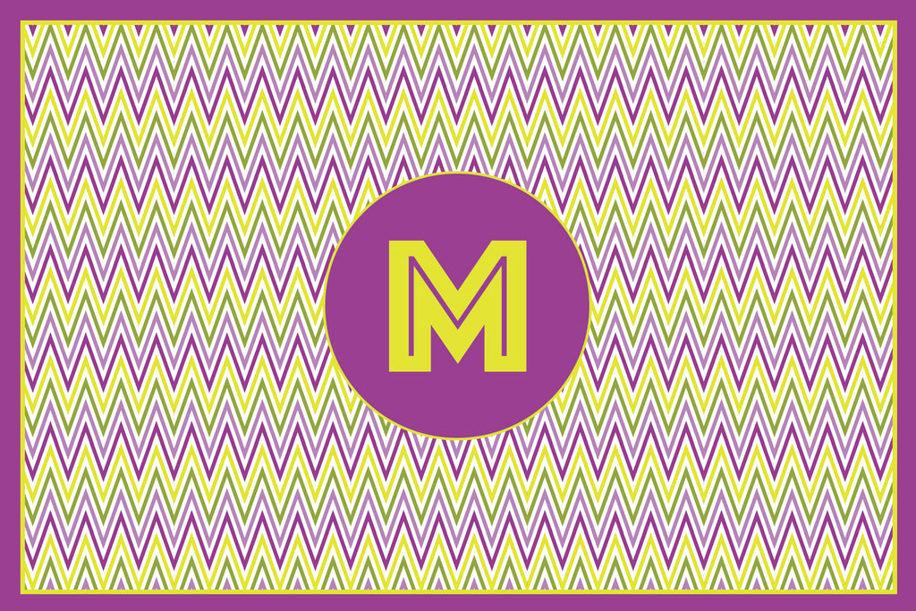 Purple Zig Zag Monogram Card