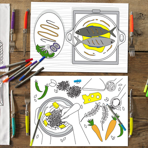 Food Themed Doodle Placemats