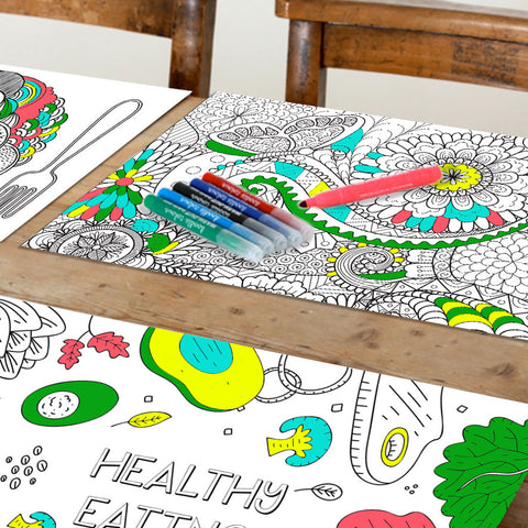 Girls Themed Doodle Placemats