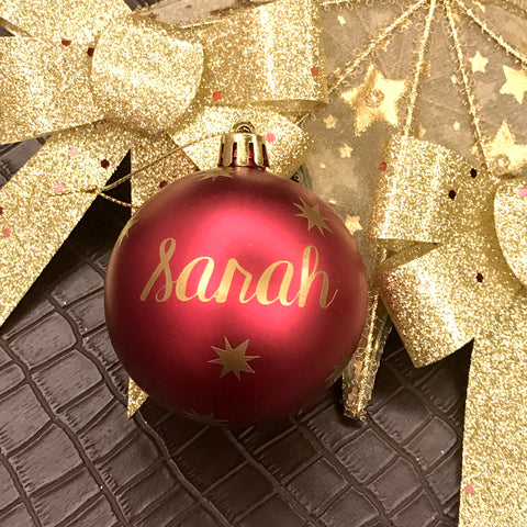 Large Matte Red Ornaments with Gold Lettering