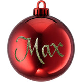 Medium Red Ornaments with Glitter Letters