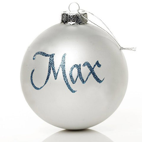 Medium Silver Ornaments with Glitter Letters
