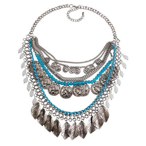 Open image in slideshow, Silver Boho statement necklace