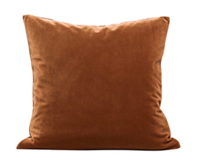 Brown crushed velvet cushion cover