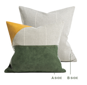 Open image in slideshow, Green leather fabric cushion cover