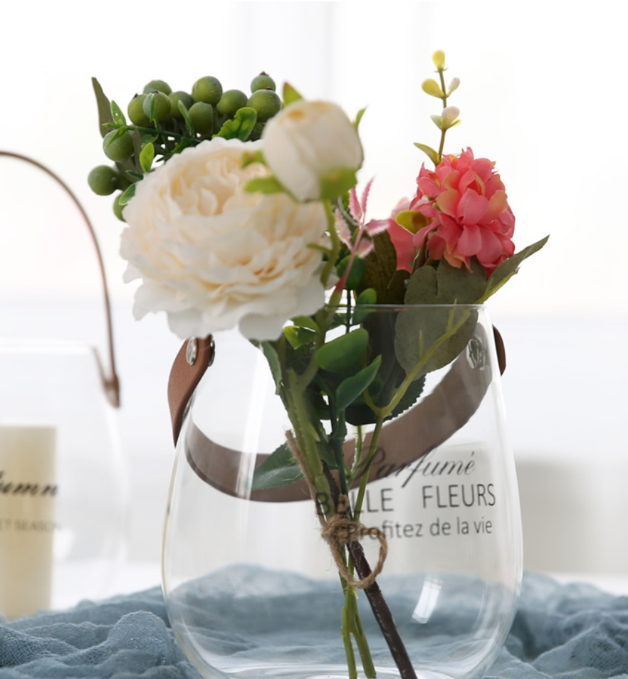 Leather handle glass vase- style 1