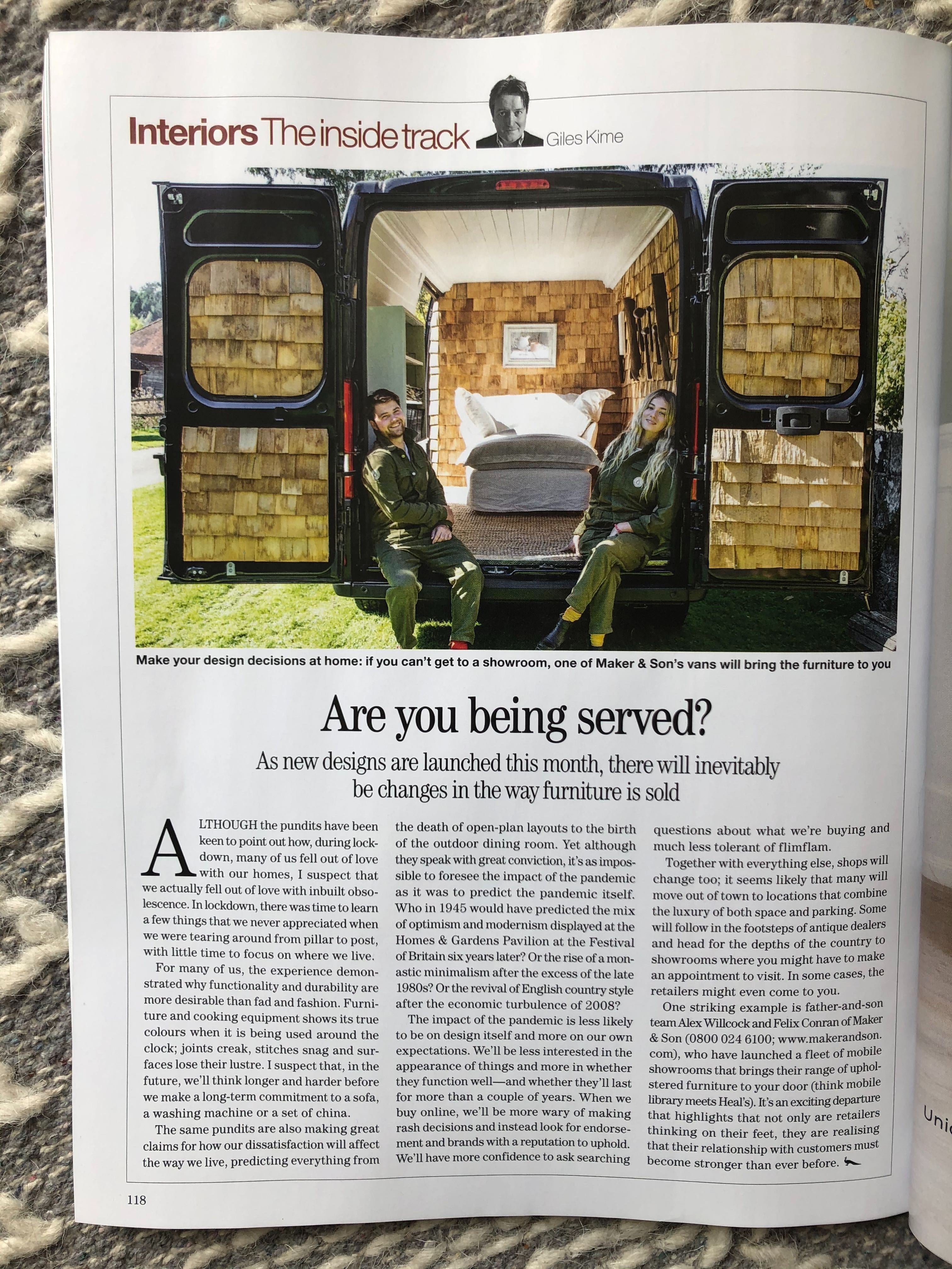 image of Country Life magazine article featuring Maker&Son mobile showrooms