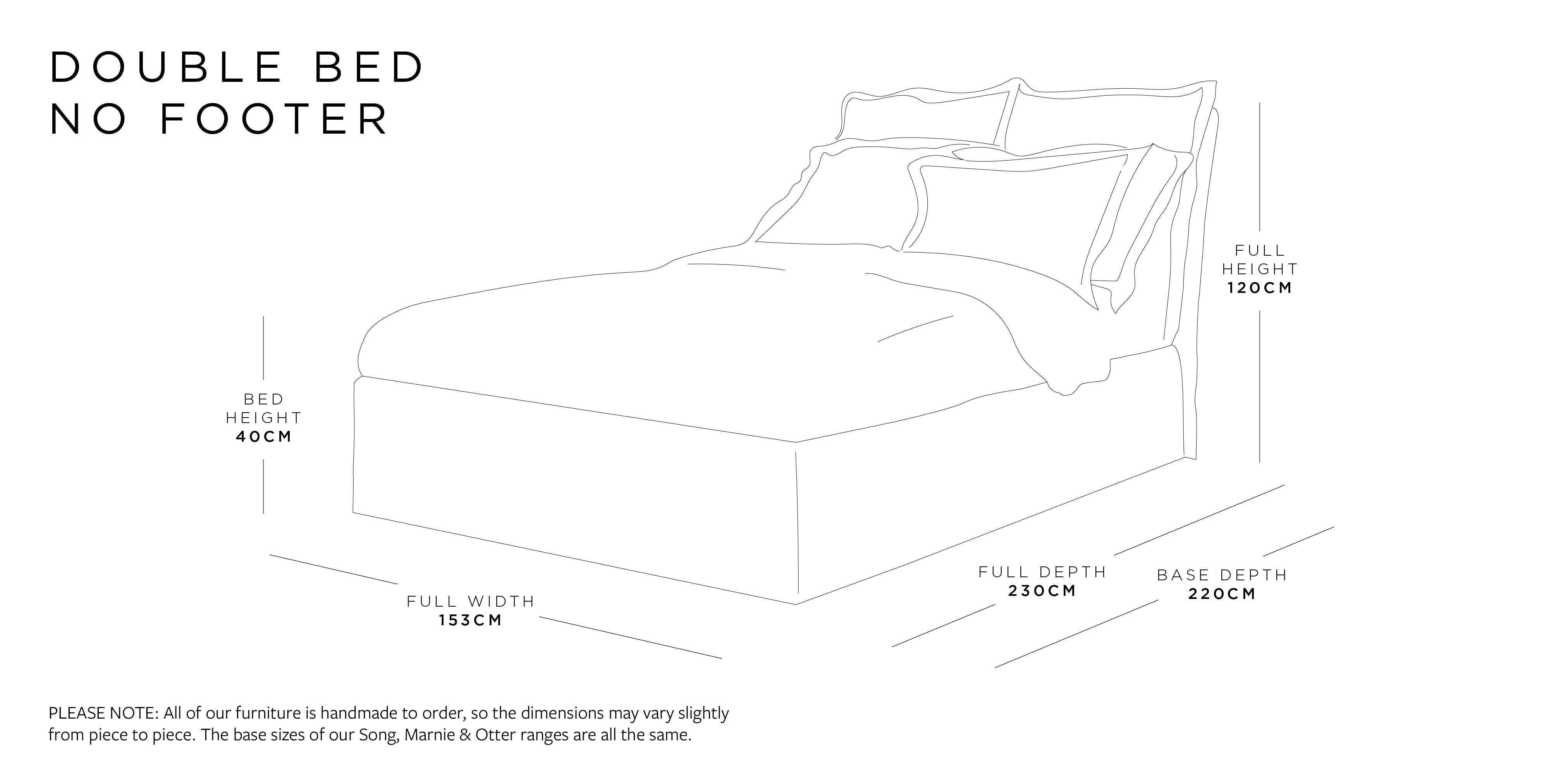 Double Bed Without Footer Dimensions