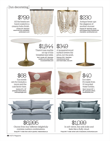List of furniture decorations ideas by the HGTV Magazine featuring Song Sofa by Maker&Son