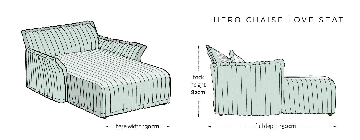 Hero DIMENSIONS UK - CHAISE LOVE SEAT