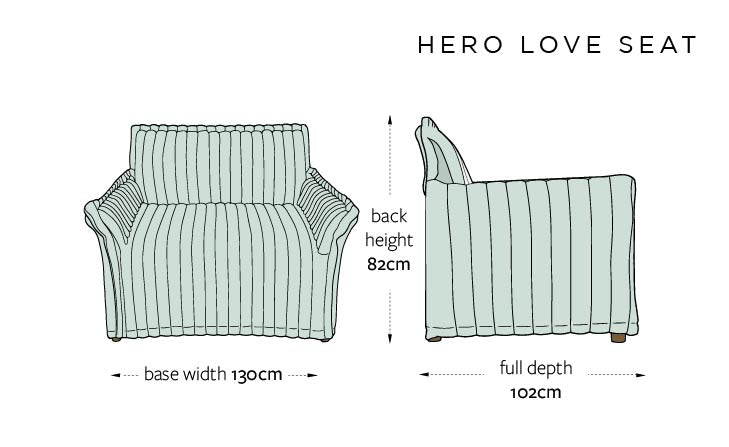 Hero DIMENSIONS UK - LOVE SEAT