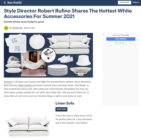 House Beautiful selects their best white accessories for your house with a Maker&Son Sofa