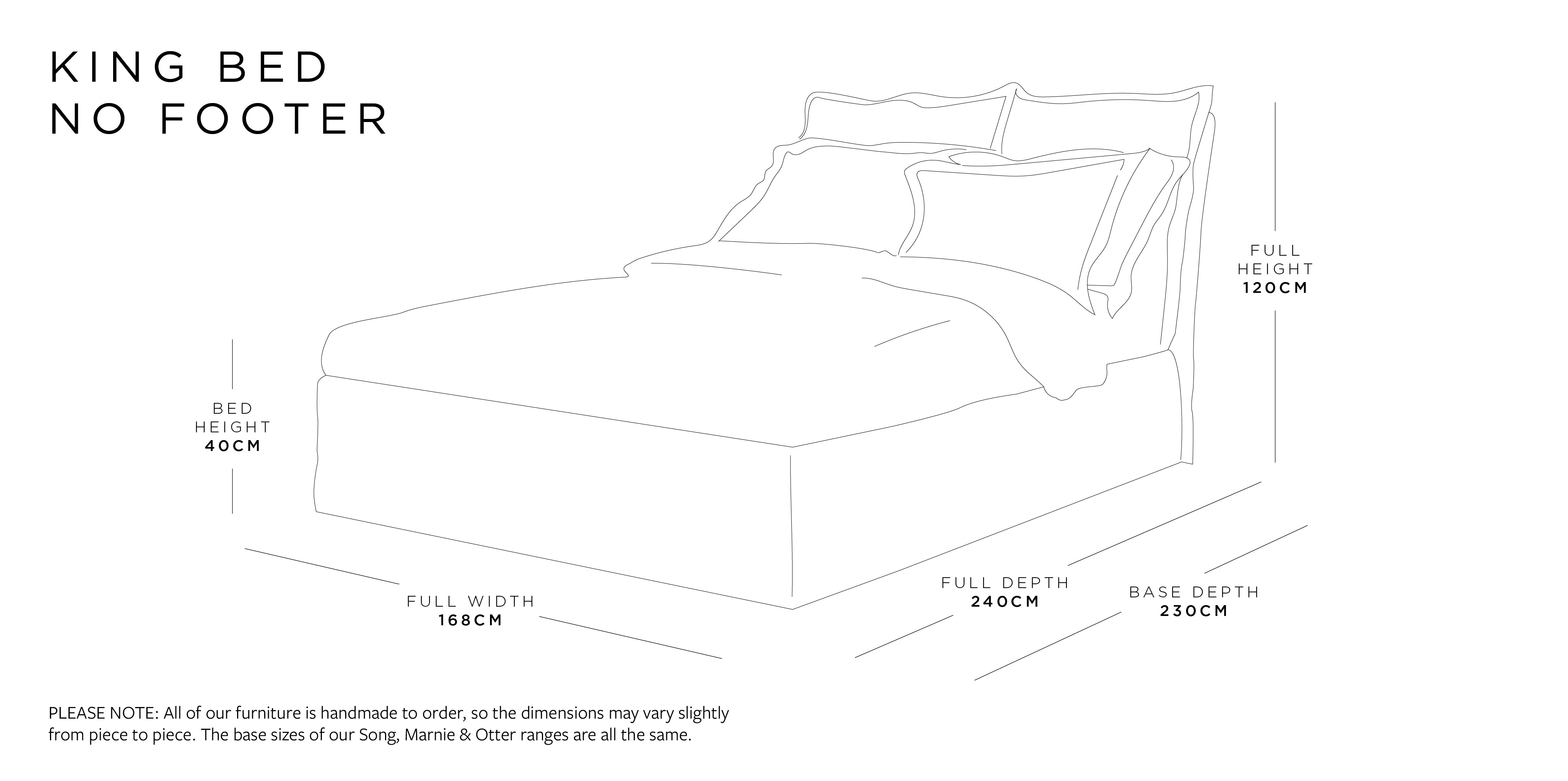 King Bed Without Footer Dimensions