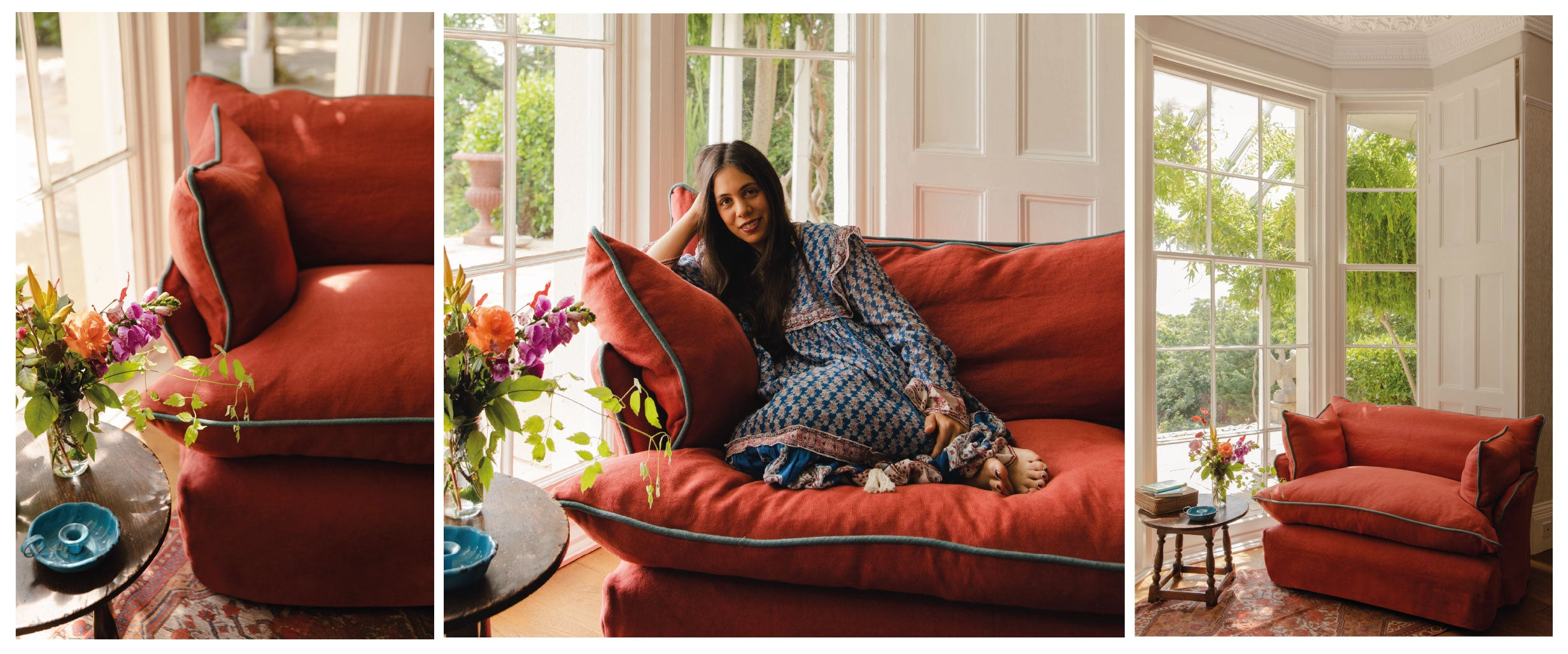 Lonika Chande in her Marnie Love Seat by Maker&Son
