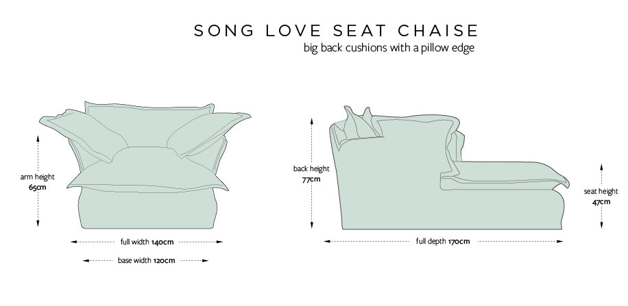 Song Love Seat Chaise dimensions diagram