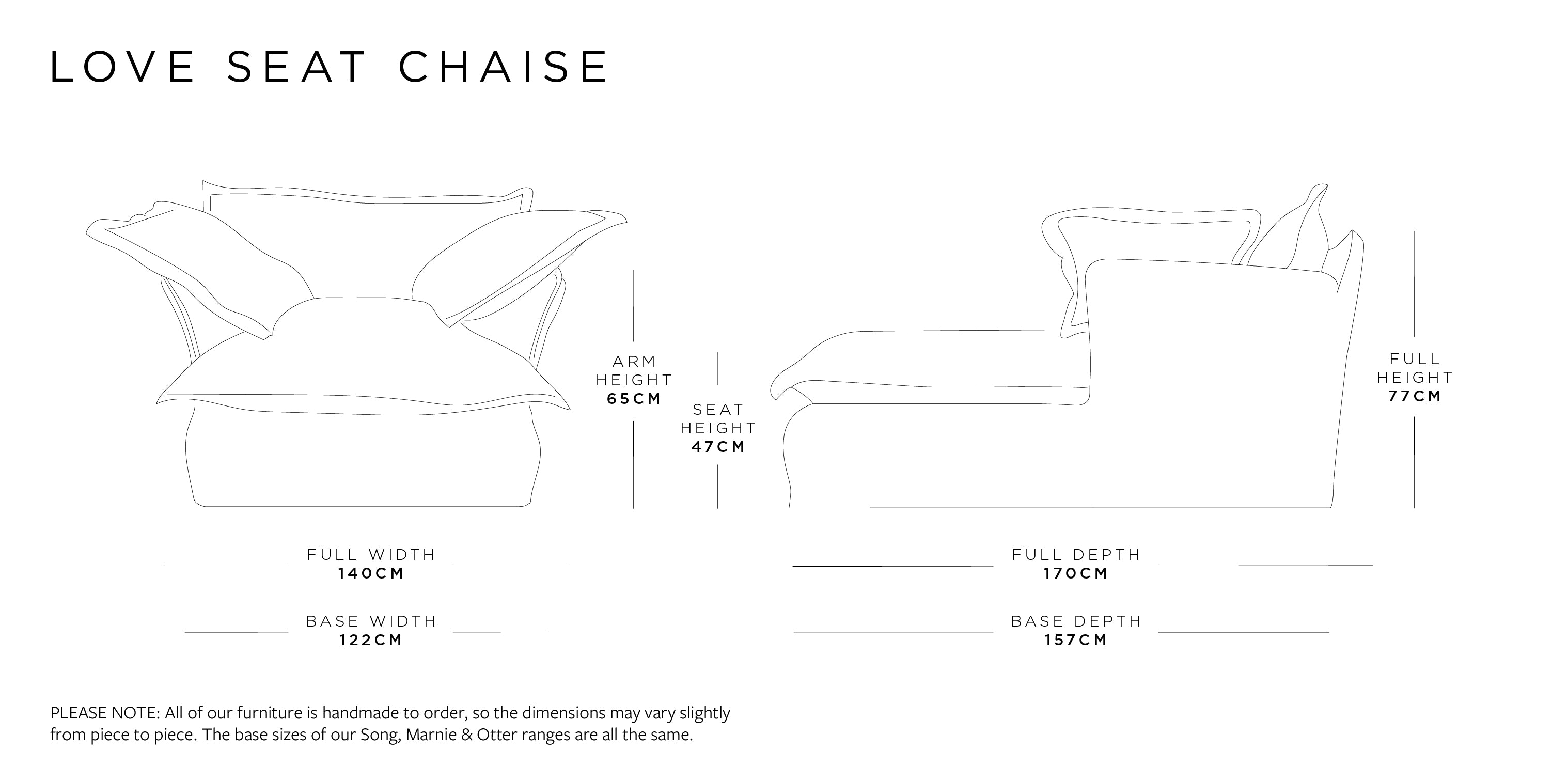 Love Seat Chaise Dimensions