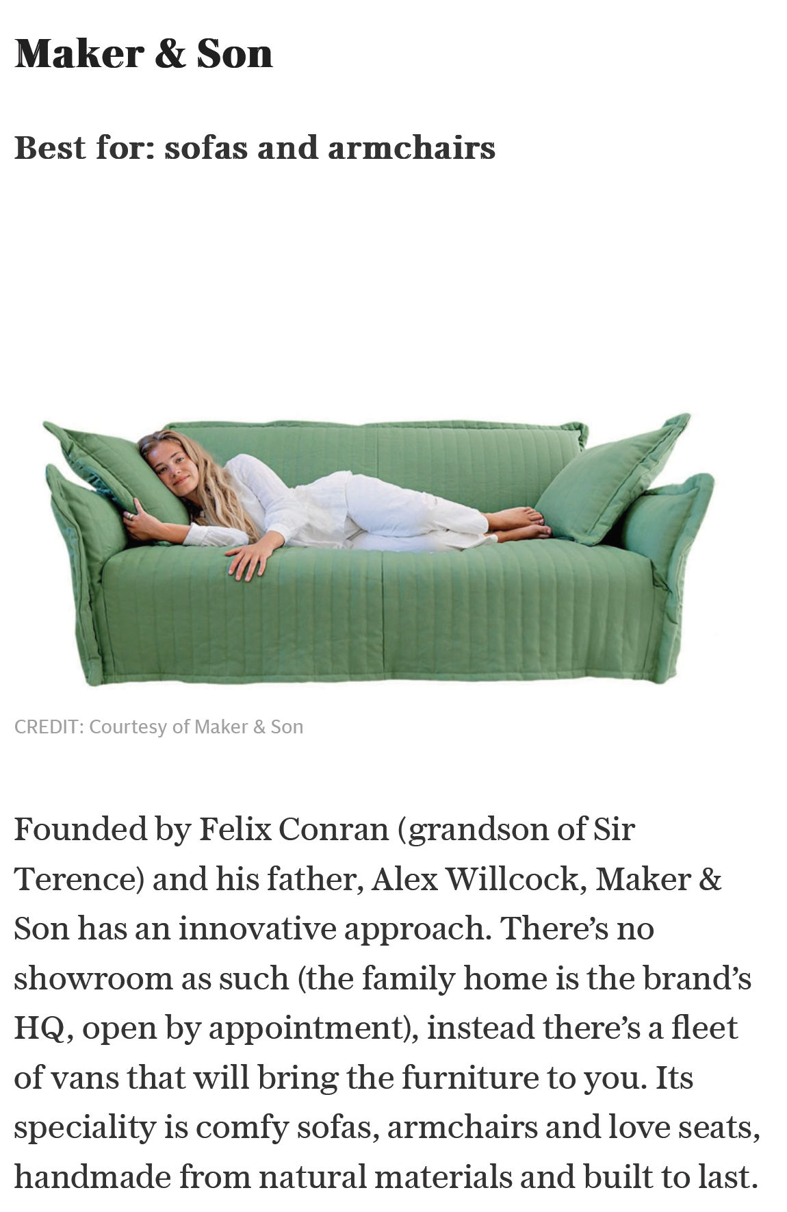 Marnie lying on a Hero Sofa in Stella magazine article