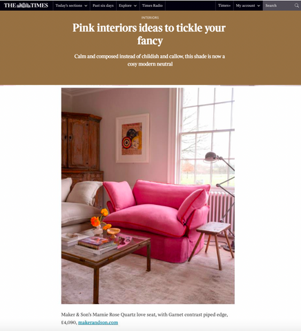 Maker&Son featured in The Times about pink furniture becoming a neutral colour