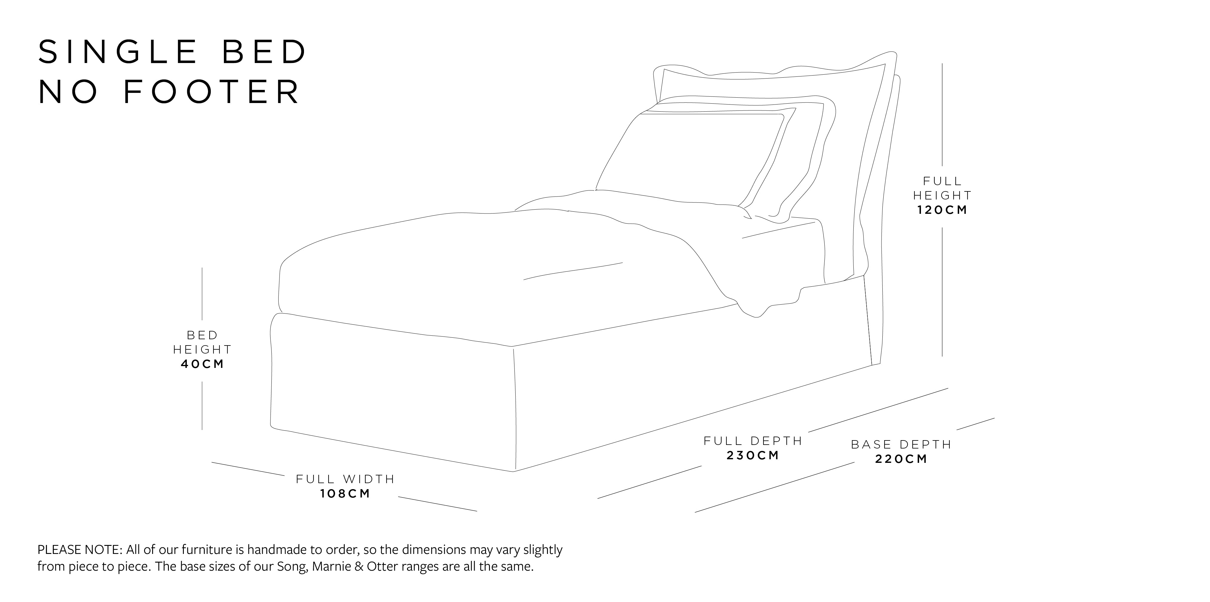 Single Bed Without Footer Dimensions