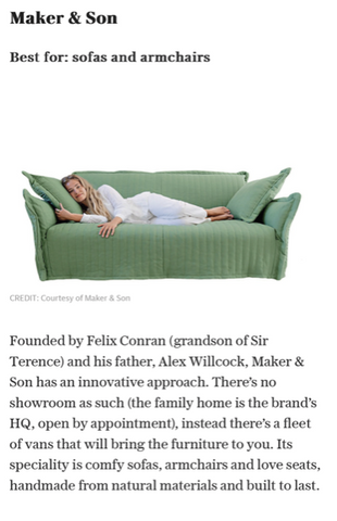 The Sunday Telegraph features our Maker&Son Hero Sofa in quilted cover