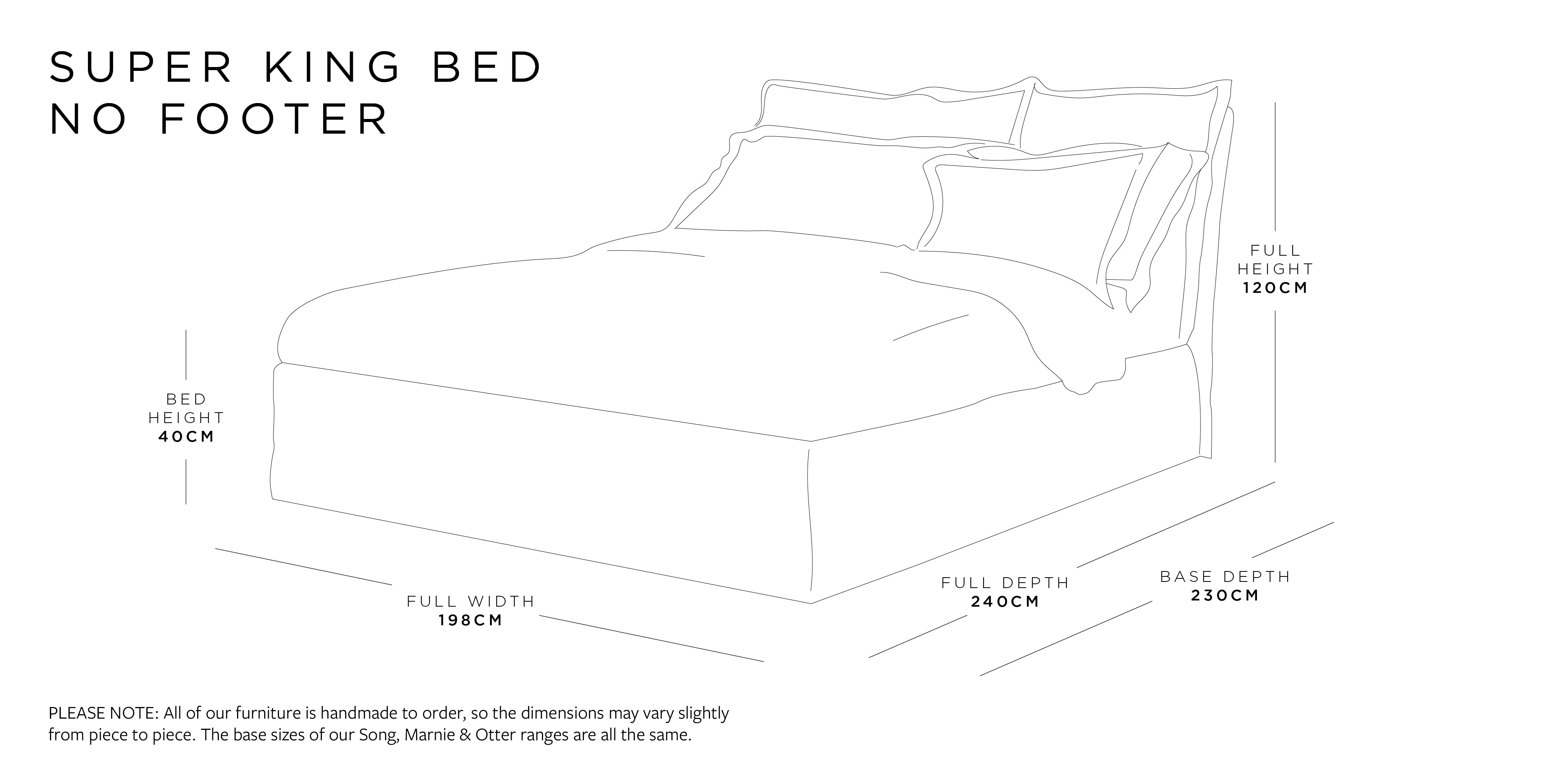 Super King Bed Without Footer Dimensions