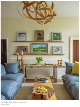 Living Room at Kemps House, featuring our Song Sofa in Granite 100% Linen and Felix's Boros light