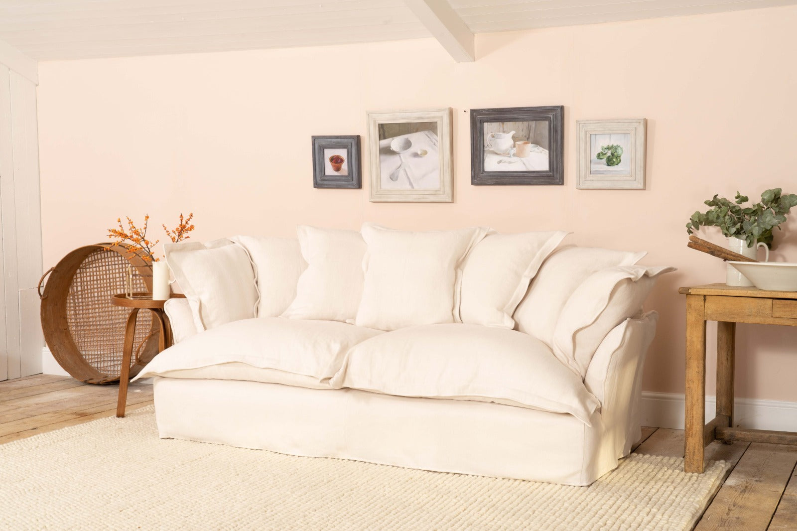 Song Sofa in Moonstone 100% Linen with scatter cushions with a pillow edge