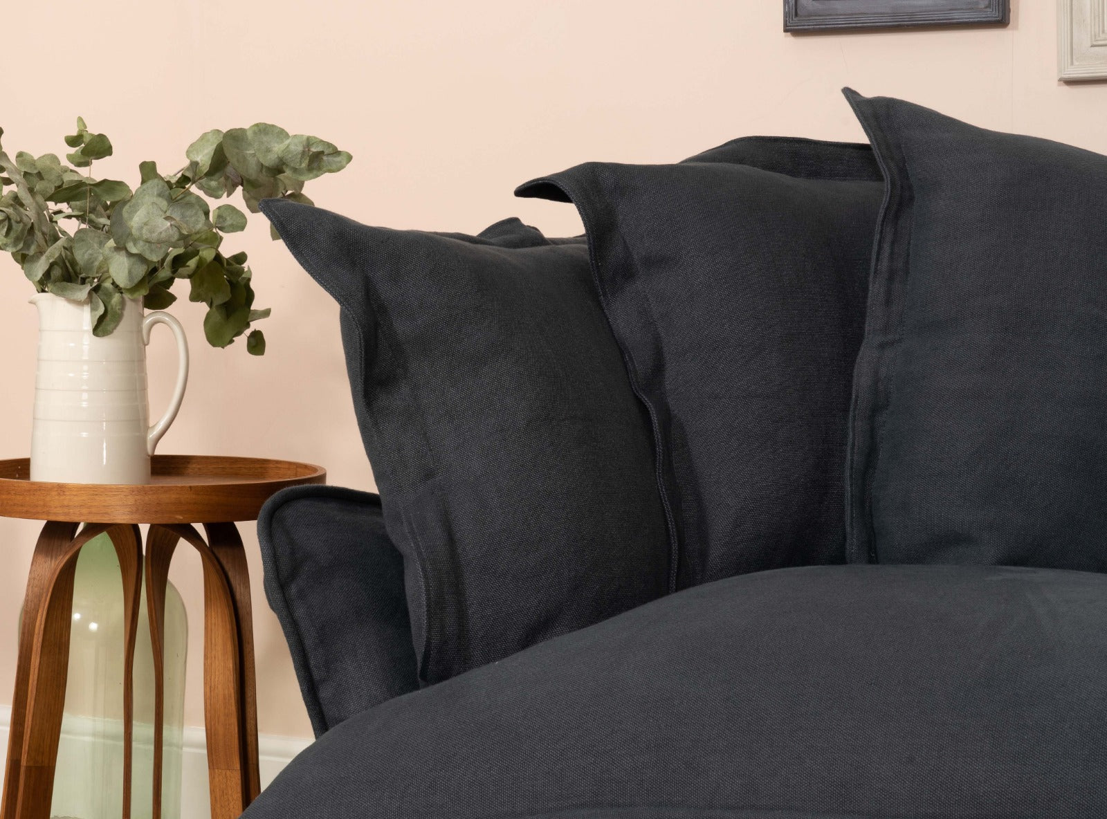 Close up image of Song Sofa in Hawk's Eye 100% Linen with scatter cushions with a pillow edge