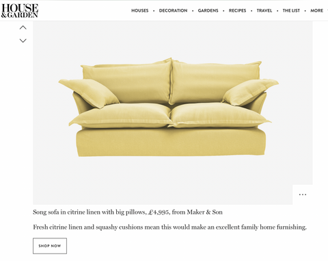 Maker&Son sofa in yellow is featured in House and Garden