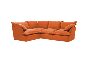 Now Song 2x3 Corner Sofa made in Burnt Orange Corduroy