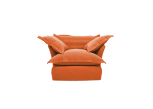 Now Song Armchair made in Burnt Orange Corduroy