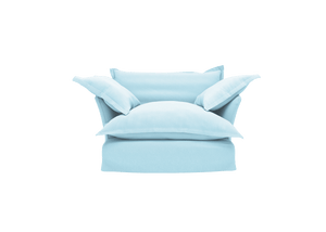 Now Song Love Seat made in Aquamarine Linen
