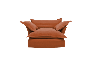 Now Song Love Seat made in Terracotta Linen Cotton