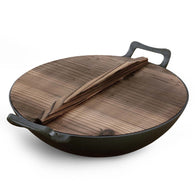 SOGA 36CM Commercial Cast Iron Wok FryPan with Wooden Lid Fry Pan